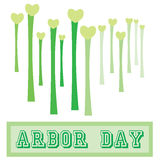 Arbor Day. Long stemmed tree like structures with hearts for Arbor day stock illustration