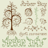Arbor Day Set of Hand Drawn Design Elements. Set of hand drawn floral design elements for Arbor Day celebration. Includes different Arbor Day titles and numbers Stock Photography