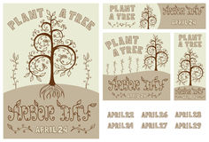 Arbor Day Set of Hand Drawn Poster, Card, Flyer and Banner. Set of hand drawn floral poster, card, flyer and banner for Arbor Day celebration with Plant a Tree Stock Photography