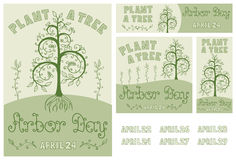 Arbor Day Set of Hand Drawn Poster, Card, Flyer and Banner. Set of hand drawn floral poster, card, flyer and banner for Arbor Day celebration with Plant a Tree Royalty Free Stock Photo