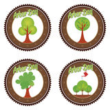 Arbor day. Set of round labels for arbor day. Vector illustration Royalty Free Stock Images