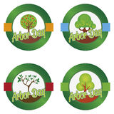 Arbor day. Set of round labels for arbor day. Vector illustration Royalty Free Stock Image