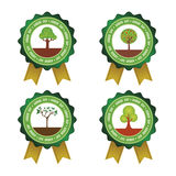 Arbor day. Set of round labels for arbor day. Vector illustration Stock Image