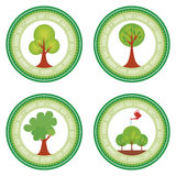 Arbor day. Set of round labels for arbor day. Vector illustration Stock Photos