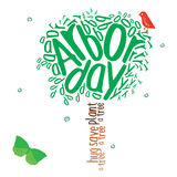 Arbor Day. Typography design in the shape of a tree in celebration of Arbor day Royalty Free Stock Image