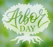 Arbor day words in a tree. Hand-writing. Lettering, typography, calligraphy. One color dark-green, with light gray shadow. For poster, banner, card stock illustration
