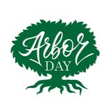 Arbor day words in a tree. Hand-writing,. Lettering, typography, calligraphy. One color dark-green, with light gray shadow. For poster, banner, card royalty free illustration