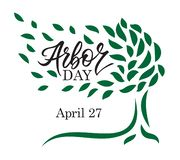 Arbor day words in a tree. Hand-writing. Lettering, typography, calligraphy. One color dark-green, with light gray shadow. For poster, banner, card royalty free illustration