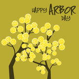 Arbor Day. Yellow blossoms on a green background celebrating Arbor day Royalty Free Stock Image
