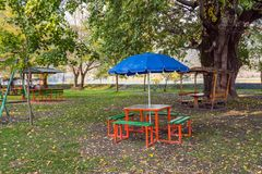 Arbor in the forest park. Outdoor cafe Royalty Free Stock Images