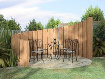 Arbor with furnitures. In sunny day 3D rendering stock illustration