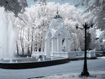 Arbor in infrared. Arbor called mirror stream with a fountain in infrared Royalty Free Stock Photos