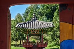 Arbor of the Korean Garden. In the National Botanical Garden Kiev, Ukraine Royalty Free Stock Photos