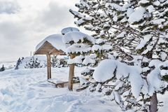 Arbor in the mountains in the snow among the firs. Wooden canopy among the snowdrifts in a frosty sunny day royalty free stock photo