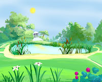 Arbor Near a Pond in a Summer Park. Digital Painting, Illustration of a small arbor near a pond in a summer park. Cartoon Style Character, Fairy Tale Story vector illustration