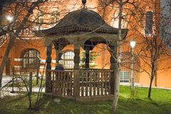 Arbor next to the church. Moscow, Russia. Moscow at night Stock Image
