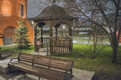 Arbor next to the church. Moscow, Russia. Moscow at night Royalty Free Stock Photo