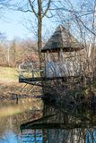 Arbor by the pond in spring. Wooden arbor by the pond in spring. Western Ukraine farm stock photography