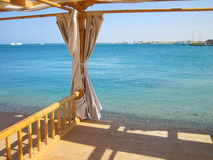 Arbor on Red sea coast. Wooden arbor on Red sea coast in Hurghada, Egypt Stock Images