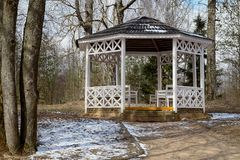 Arbor in Repin Country Estate. Arbor in Country Estate of Famous Russian Artist Repin near Vitebsk Belarus Royalty Free Stock Photography