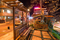 Arbor for rest on the Pomorie waterfront, Bulgaria, night Stock Photos