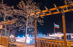 Arbor for rest on the Pomorie waterfront, Bulgaria, night. Pomorie - famous resort town in Bulgaria. In summer it is a popular tourist destination, mainly from Stock Photography