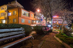 Arbor for rest on the Pomorie waterfront in Bulgaria, night Stock Image