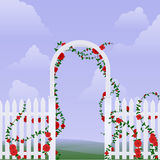 Arbor with roses. Simple arbor with climbing roses against a sky stock illustration