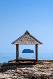Arbor on the shore of the island of Maiton, Thailand. On a sunny day. Another island in the background stock photo