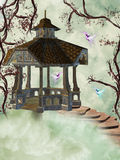 Arbor in the sky. Arbor in the surrounded sky of flowers and birds royalty free stock images