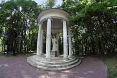 Arbor `Temple of Ceres` in Tsaritsyno, Moscow, Russia stock photo