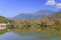 Arbor, trees, mountain at Lotus Pond, Nantou, Taiwan Stock Images