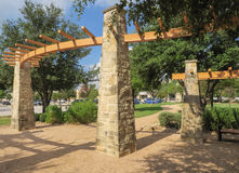 Arbor and walkway in a shopping center. In Austin Texas Stock Photos