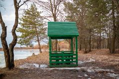 Arbor wooden for outdoor recreation by the river in the spring stock photos