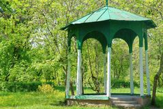 Arbor. Wooden arbor in the park of the city of Nalchik Royalty Free Stock Photo