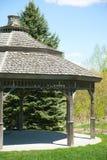 Arbor. Wooden Arbor in spring park Stock Image