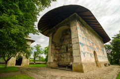 The Arbore church in Arbore village, Romania. The Arbore church in Arbore village, Moldavia. Build in 1503 by the nobleman /great hetman/ Luca Arbore. Arbore Royalty Free Stock Photography
