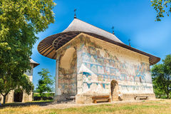 The Arbore Monastery. The Arbore Church/Monastery is a Romanian Orthodox painted monastery church built in 1502, and dedicated to the Beheading of St. John the Royalty Free Stock Image