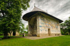 Arbore church in Romania Stock Photo