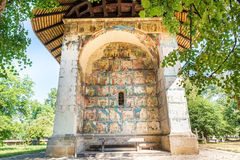The Arbore Monastery painted wall. The Arbore Monastery is a painted monastery church built in 1502, and dedicated to the Beheading of St. John the Baptist, it Royalty Free Stock Photos