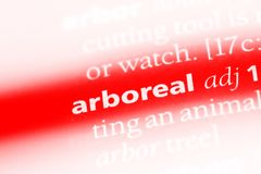 Arboreal. Word in a dictionary.  concept stock photo