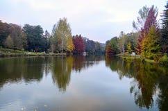 Arboreto de Ataturk Árvores do outono em torno do lago imagem de stock royalty free