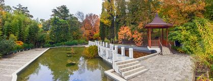 The Arboretum – a Chinese court, Sochi, Rossia. Arboretum is a Unique and Famous Landmark in Sochi. Park Arboretum in Sochi deservedly has the status of a Stock Photos