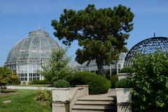 Arboretum in Detroit on Belle Isle. Anna Scripps Whitcomb Conservatory in Detroit is historical Stock Photos