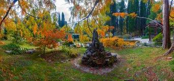Autumn panorama of Arboretum in Sochi. Russia. Arboretum is a Unique and Famous Landmark in Sochi Stock Image