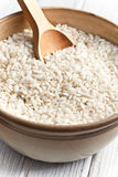 Arborio rice. The uncooked arborio rice in bowl Stock Photography
