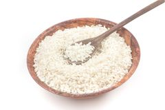 Arborio Rice in a bowl. On white background stock images