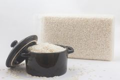 Arborio rice pack. Over a white background stock photos