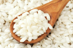 Arborio rice for risotto. Spoonful of Arborio - Italian rice for risotto Stock Images
