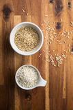 Arborio and thaibonnet rice. Arborio and thaibonnet rice in bowl. Top view Stock Photography